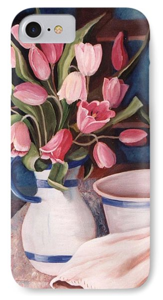IPhone Case featuring the painting Pink Tulips by Renate Nadi Wesley