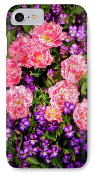 IPhone Case featuring the photograph Pink Tulips With Purple Flowers by James Steele