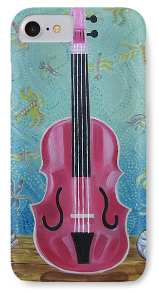 Pink Violin With Fireflies And Shells Still Life IPhone Case by John Keaton