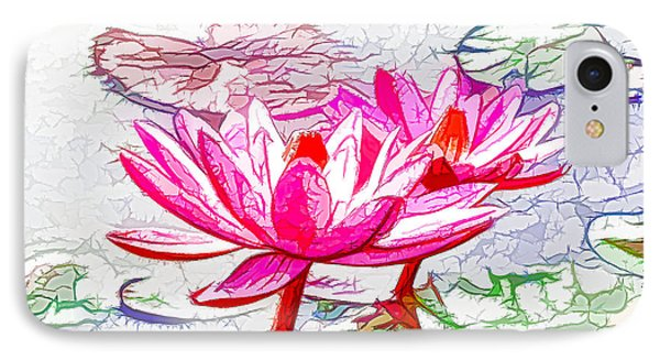 Pink Water Lily Flowers Blooming On Pond Phone Case by Lanjee Chee