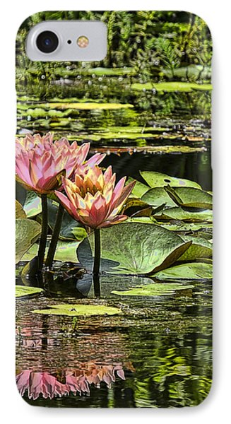 IPhone Case featuring the photograph Pink Water Lily Reflections by Bill Barber