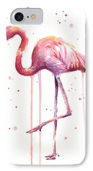 Pink Watercolor Flamingo IPhone 7 Case