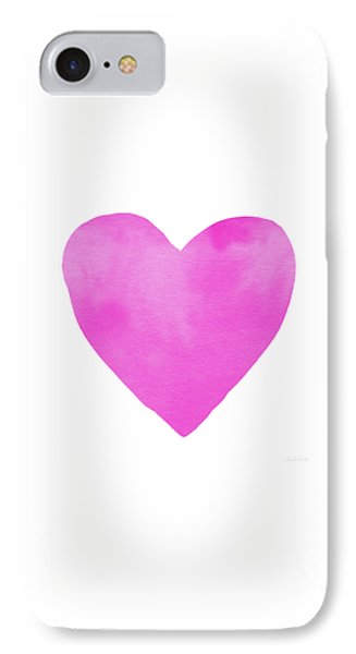 IPhone Case featuring the mixed media Pink Watercolor Heart- Art By Linda Woods by Linda Woods