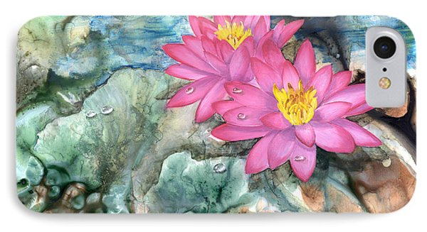 IPhone Case featuring the painting Pink Waterlily by Sherry Shipley
