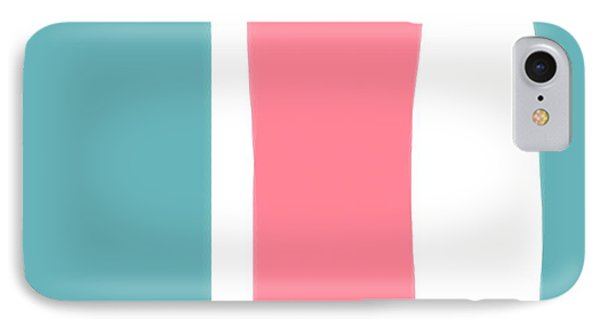 Pink White Blue 2 IPhone Case by Bonnie Bruno