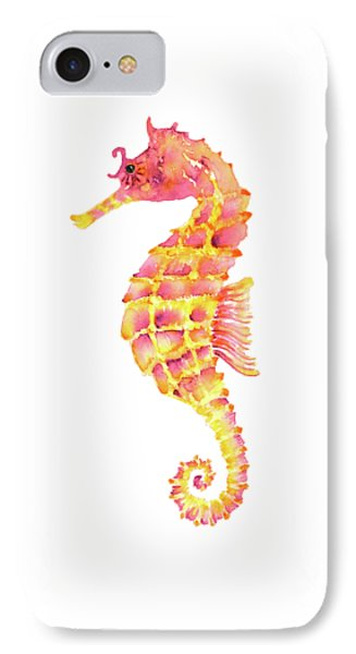 Pink Yellow Seahorse - Square IPhone 7 Case by Amy Kirkpatrick