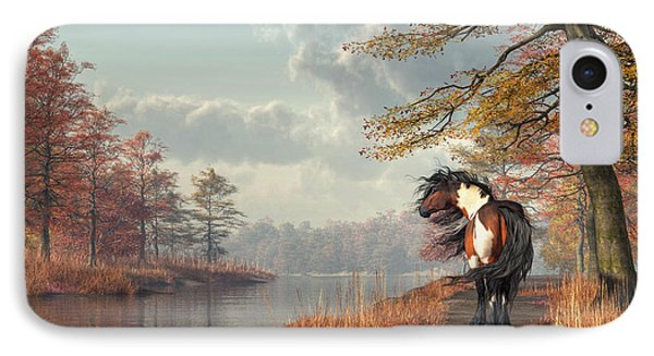 IPhone Case featuring the digital art Pinto Horse On A Riverside Trail by Daniel Eskridge