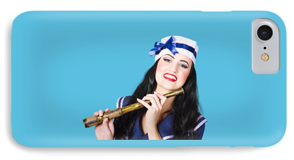Pinup Sailor Girl Holding Telescope IPhone Case