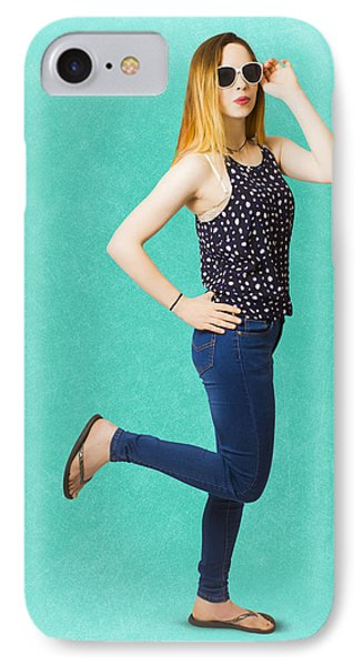 Pinup Women In Blue Jeans IPhone Case by Jorgo Photography - Wall Art Gallery