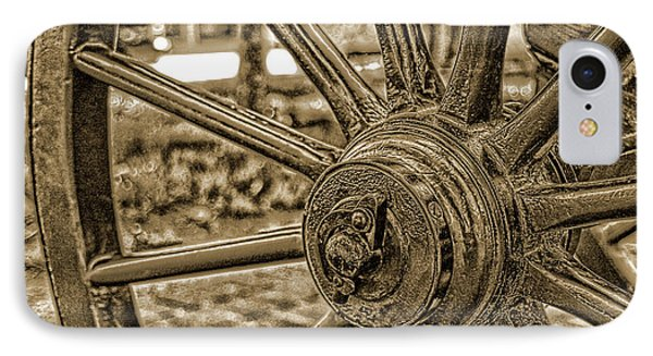 IPhone Case featuring the photograph Pioneer Wagon Wheel by Marie Leslie