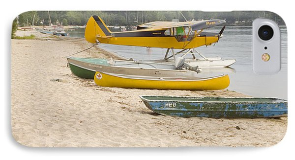 Piper Super Cub Floatplane Near Pond In Maine Canvas Poster Print IPhone Case by Keith Webber Jr