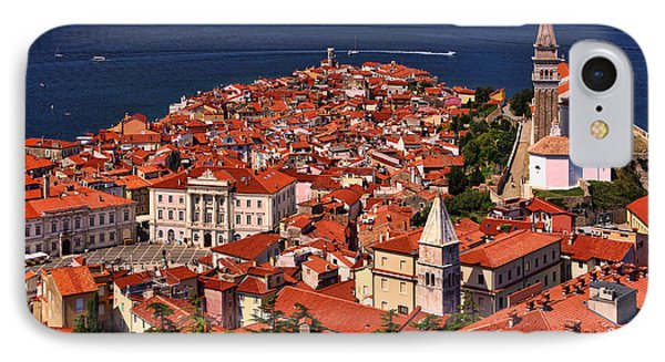 Piran From The Castle Wall IPhone Case by Graham Hawcroft pixsellpix