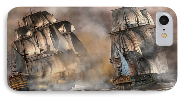 Pirate Battle IPhone Case by Daniel Eskridge