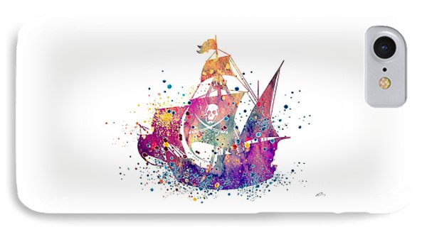 Pirate Ship 2 Watercolor IPhone Case