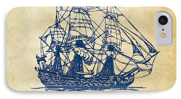 Pirate Ship Artwork - Vintage Phone Case by Nikki Marie Smith