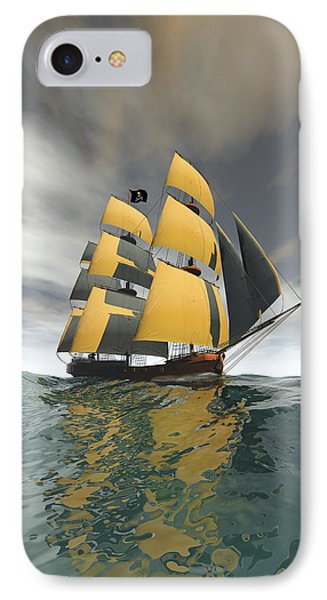 Pirate Ship On The High Seas Phone Case by Carol and Mike Werner