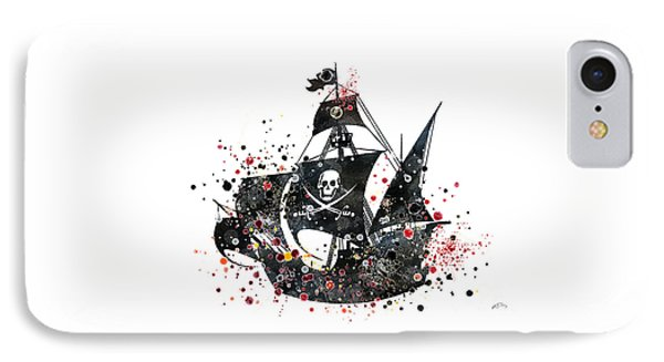 Pirate Ship Watercolor  IPhone Case