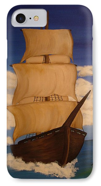 Pirate Ship With Gulls Phone Case by Vickie Roche