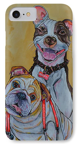 Pitbull And Bulldog IPhone Case by Patti Schermerhorn