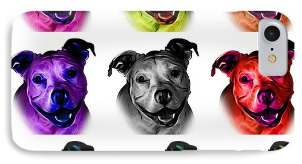 Pitbull Terrier - F - S - Wb - Mosaic IPhone Case by James Ahn