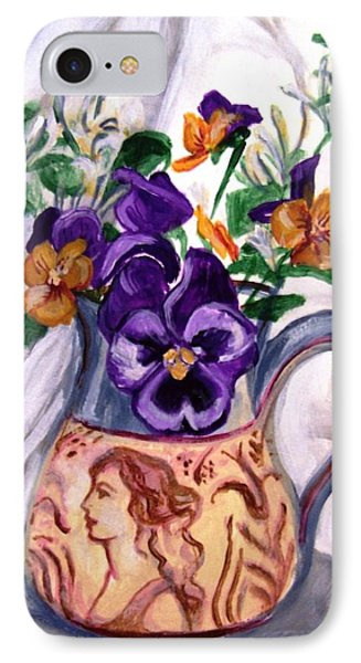 IPhone Case featuring the painting Pitcher Of Pansies by Laura Aceto