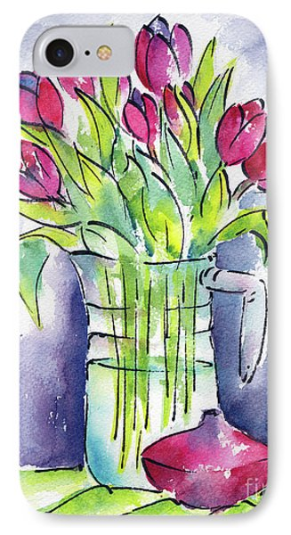 IPhone Case featuring the painting Pitcher Of Tulips by Pat Katz