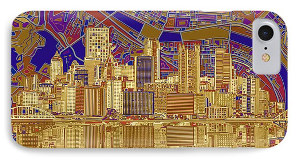 Pittsburgh Skyline Abstract 3 IPhone Case by Bekim Art
