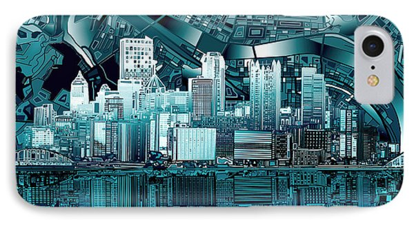 Pittsburgh Skyline Abstract Blue IPhone Case by Bekim Art