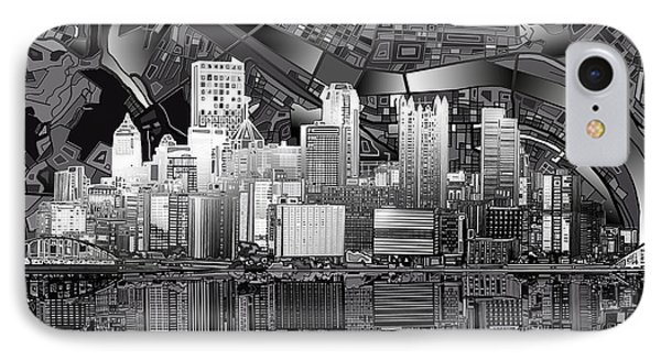 Pittsburgh Skyline Abstract Bw IPhone Case