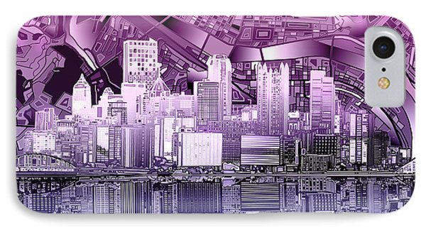 Pittsburgh Skyline Abstract Purple IPhone Case