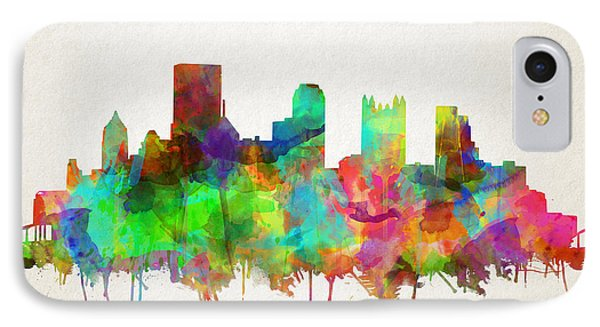 Pittsburgh Skyline Watercolor 5 IPhone Case