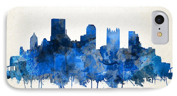 Pittsburgh Skyline Watercolor Blue IPhone Case