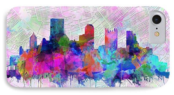 Pittsburgh Skyline Watercolor IPhone Case by Bekim Art