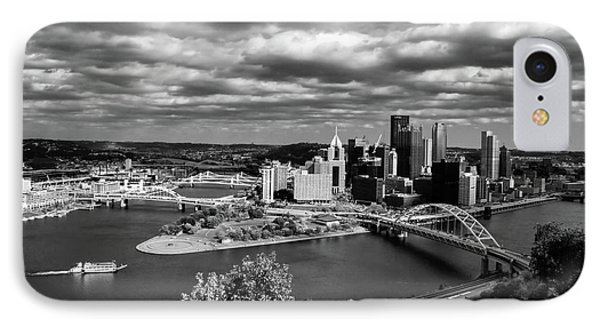Pittsburgh Skyline With Boat IPhone Case by Michelle Joseph-Long