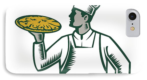 Pizza Chef Holding Pizza Woodcut IPhone Case