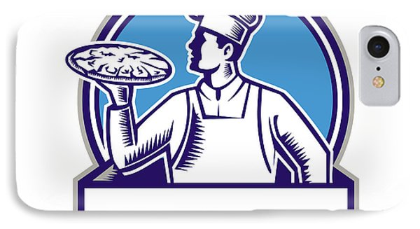 Pizza Chef Serving Pizza Circle Woodcut IPhone Case