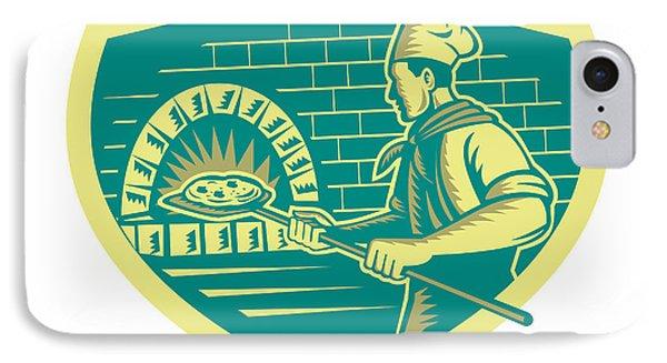 Pizza Maker Holding Peel Crest Woodcut IPhone Case