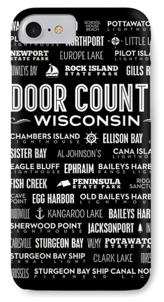 Places Of Door County On Black IPhone 7 Case by Christopher Arndt