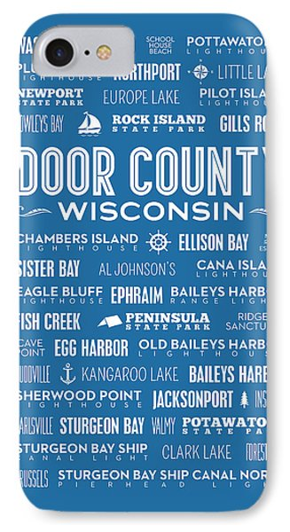 Places Of Door County On Blue IPhone 7 Case