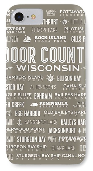 IPhone Case featuring the digital art Places Of Door County On Brown by Christopher Arndt