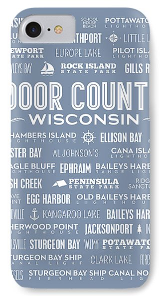 IPhone Case featuring the digital art Places Of Door County On Light Blue by Christopher Arndt