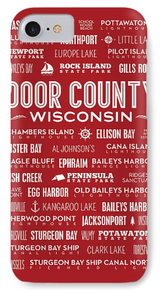 Places Of Door County On Red IPhone 7 Case