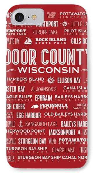 Places Of Door County On Red IPhone 7 Case by Christopher Arndt