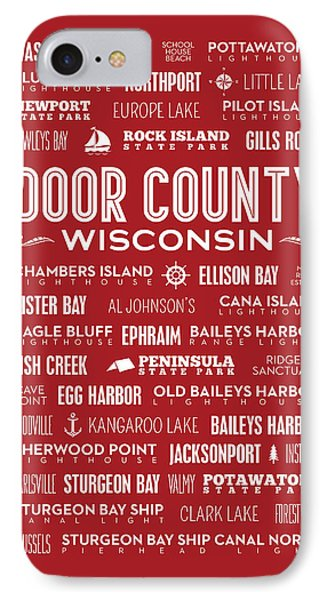 Places Of Door County On Red IPhone Case by Christopher Arndt