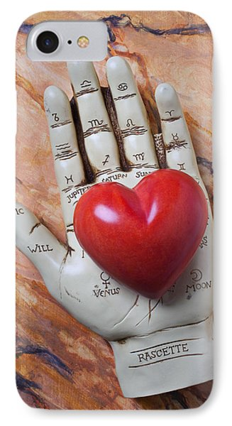 Plam Reader Hand Holding Red Stone Heart IPhone Case