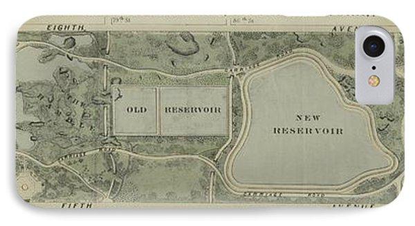 Plan Of Central Park City Of New York 1860 IPhone Case by Duncan Pearson