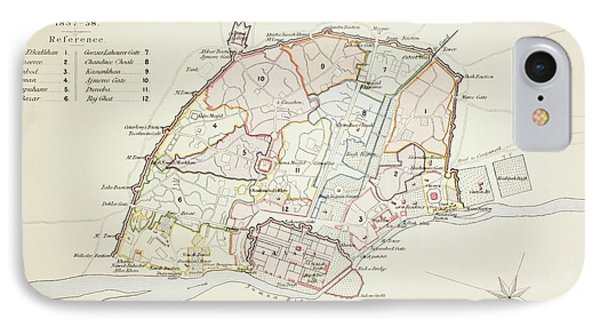 Plan Of Delhi In 1857 - 1858. From The IPhone Case by Vintage Design Pics