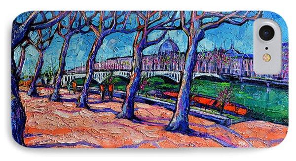 Plane Trees Along The Rhone River - Spring In Lyon By Mona Edulesco IPhone Case by Mona Edulesco