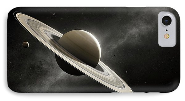 Planet Saturn With Major Moons IPhone Case by Johan Swanepoel