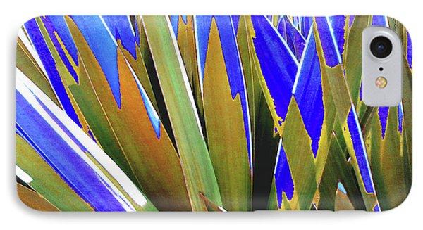 Plant Burst - Blue IPhone Case by Rebecca Harman